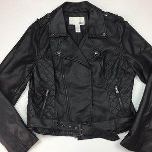 Bar lll Black Faux leather Belt Moto jacket